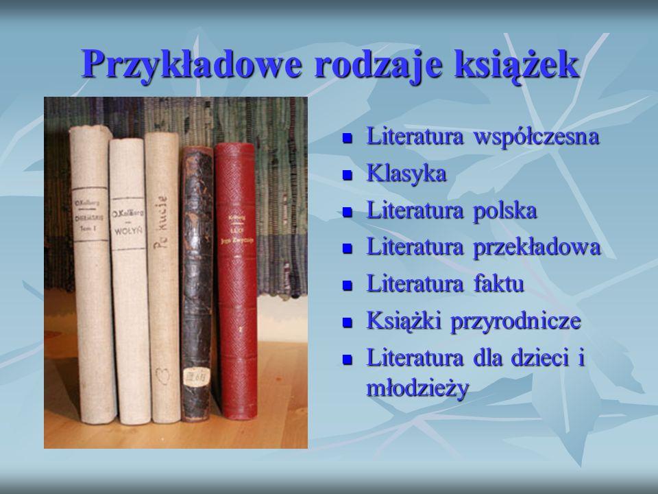 Przykładowe rodzaje książek