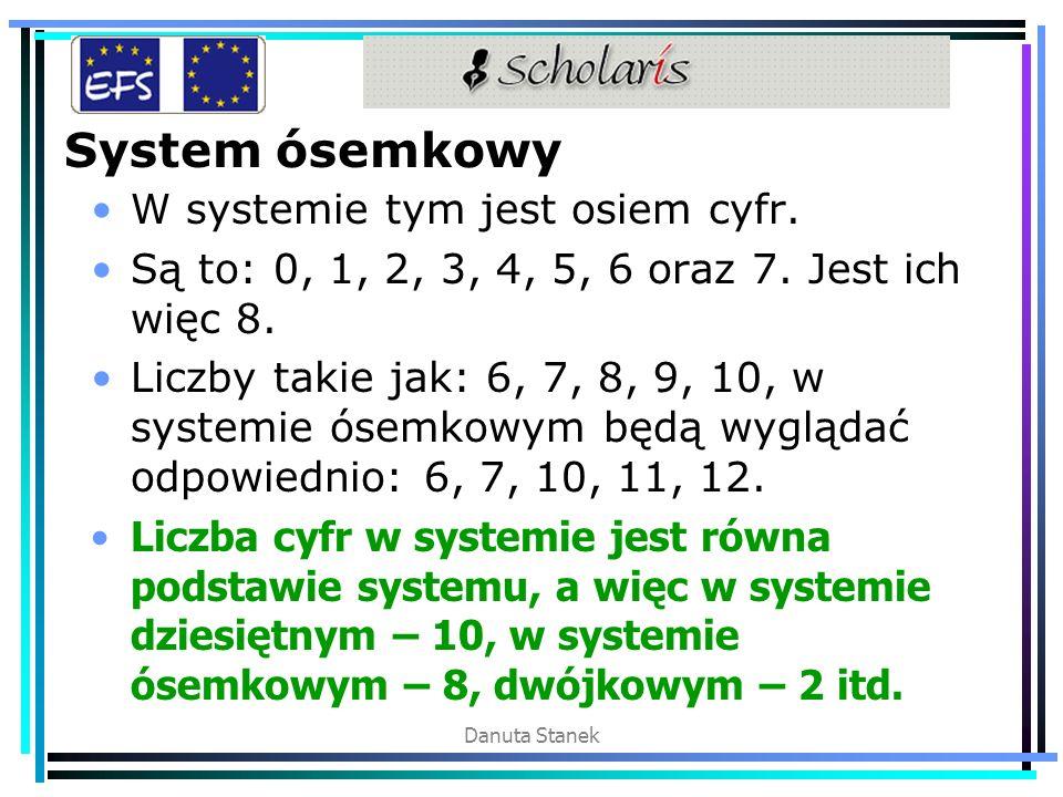System ósemkowy W systemie tym jest osiem cyfr.