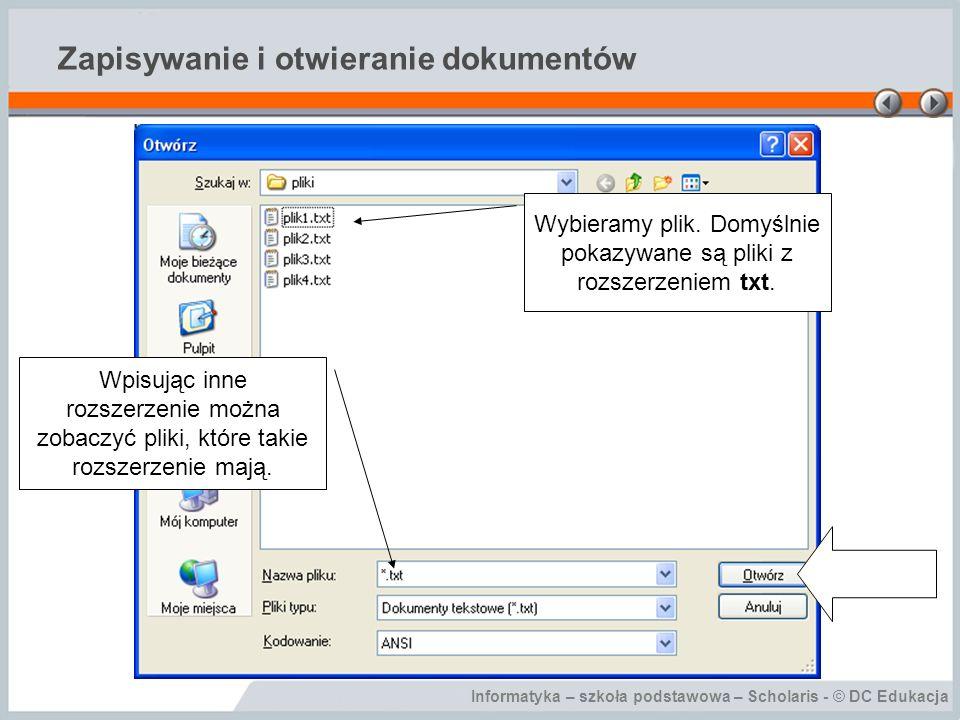 Zapisywanie i otwieranie dokumentów