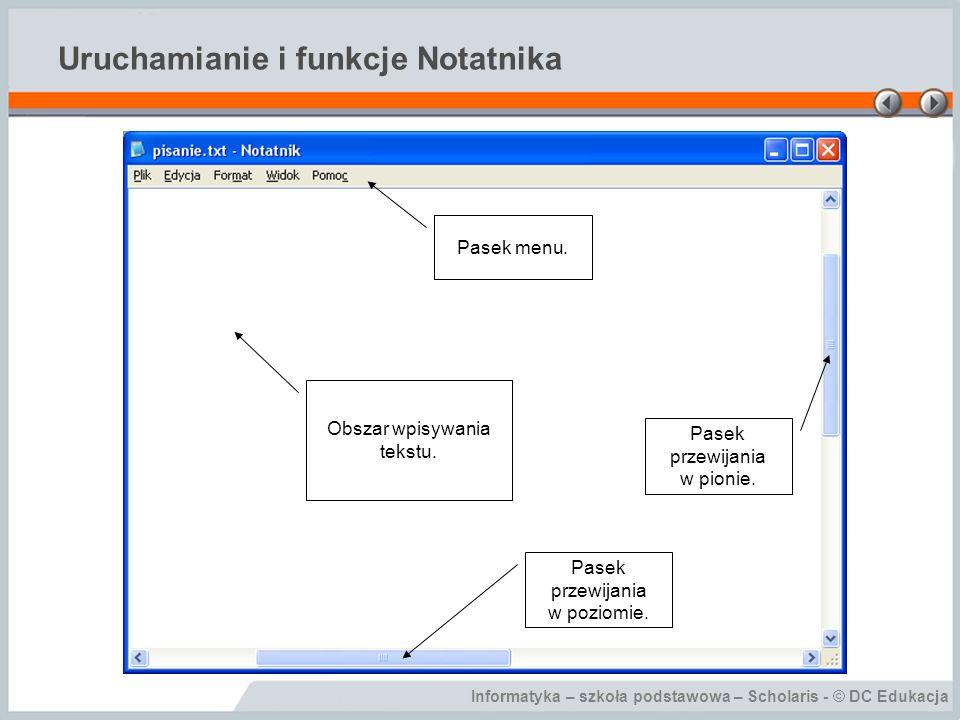 Uruchamianie i funkcje Notatnika