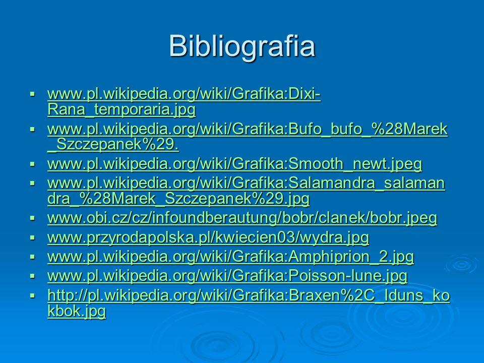Bibliografia www.pl.wikipedia.org/wiki/Grafika:Dixi-Rana_temporaria.jpg. www.pl.wikipedia.org/wiki/Grafika:Bufo_bufo_%28Marek_Szczepanek%29.