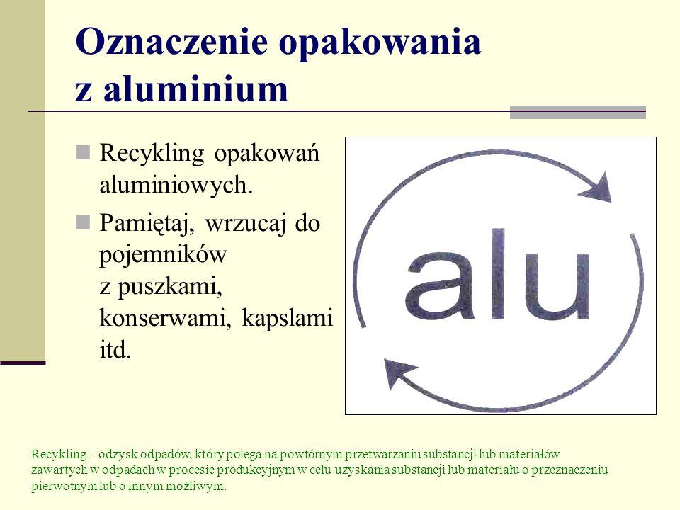 Oznaczenie opakowania z aluminium