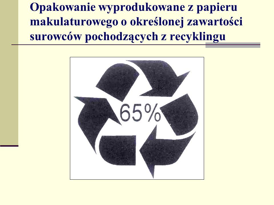 Opakowanie wyprodukowane z papieru makulaturowego o określonej zawartości surowców pochodzących z recyklingu