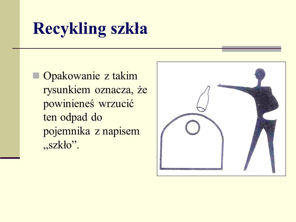 """Recykling szkła Opakowanie z takim rysunkiem oznacza, że powinieneś wrzucić ten odpad do pojemnika z napisem """"szkło ."""