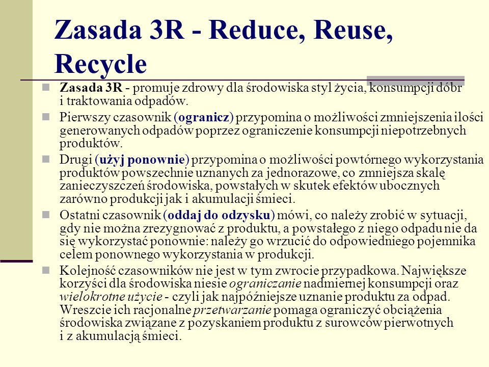 Zasada 3R - Reduce, Reuse, Recycle