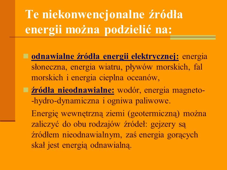 Te niekonwencjonalne źródła energii można podzielić na: