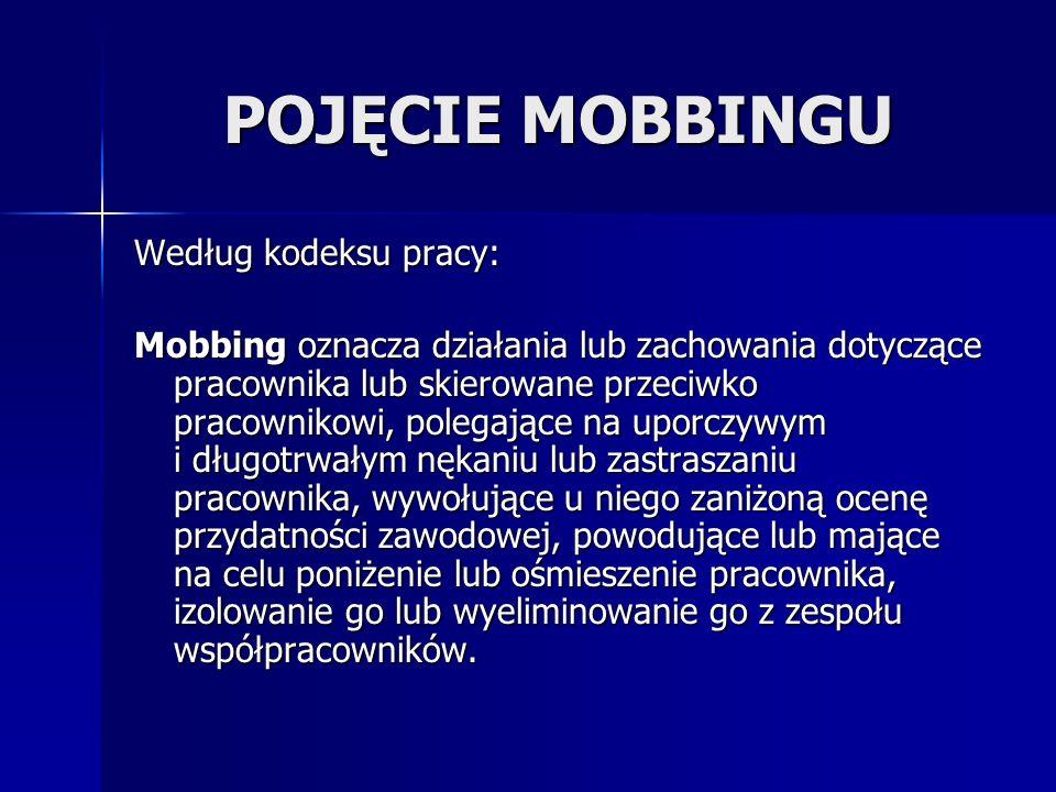 POJĘCIE MOBBINGU Według kodeksu pracy: