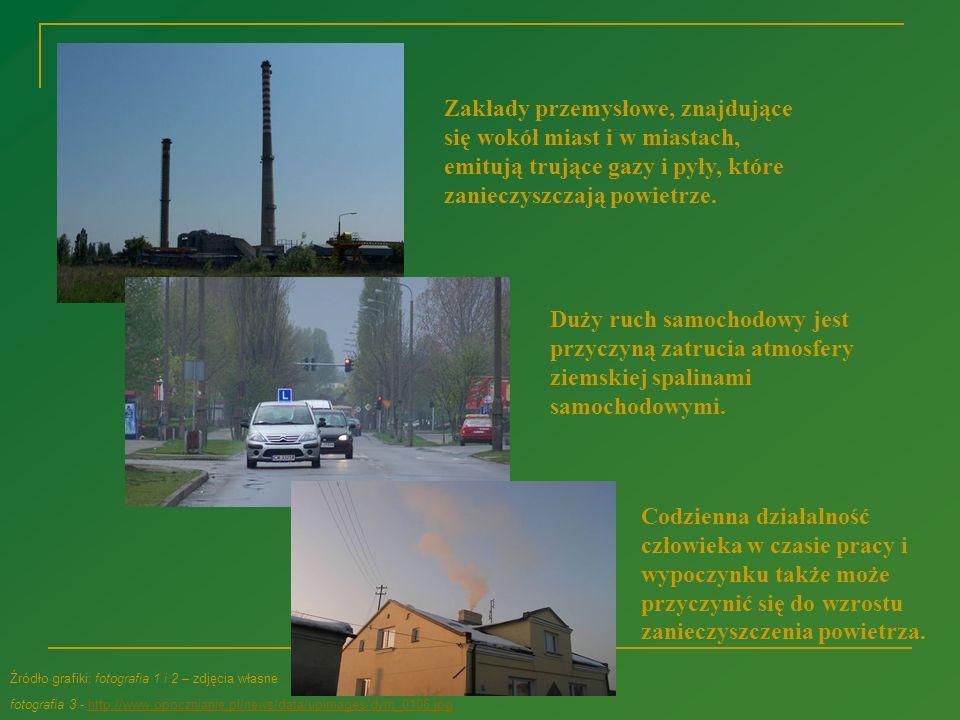 Zakłady przemysłowe, znajdujące się wokół miast i w miastach, emitują trujące gazy i pyły, które zanieczyszczają powietrze.