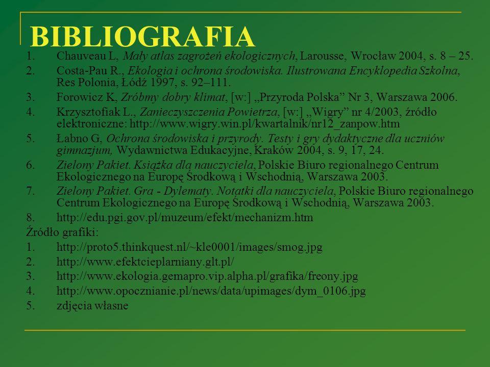 BIBLIOGRAFIA 1. Chauveau L, Mały atlas zagrożeń ekologicznych, Larousse, Wrocław 2004, s. 8 – 25.
