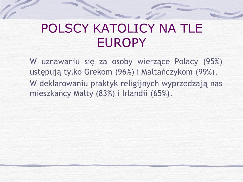 POLSCY KATOLICY NA TLE EUROPY