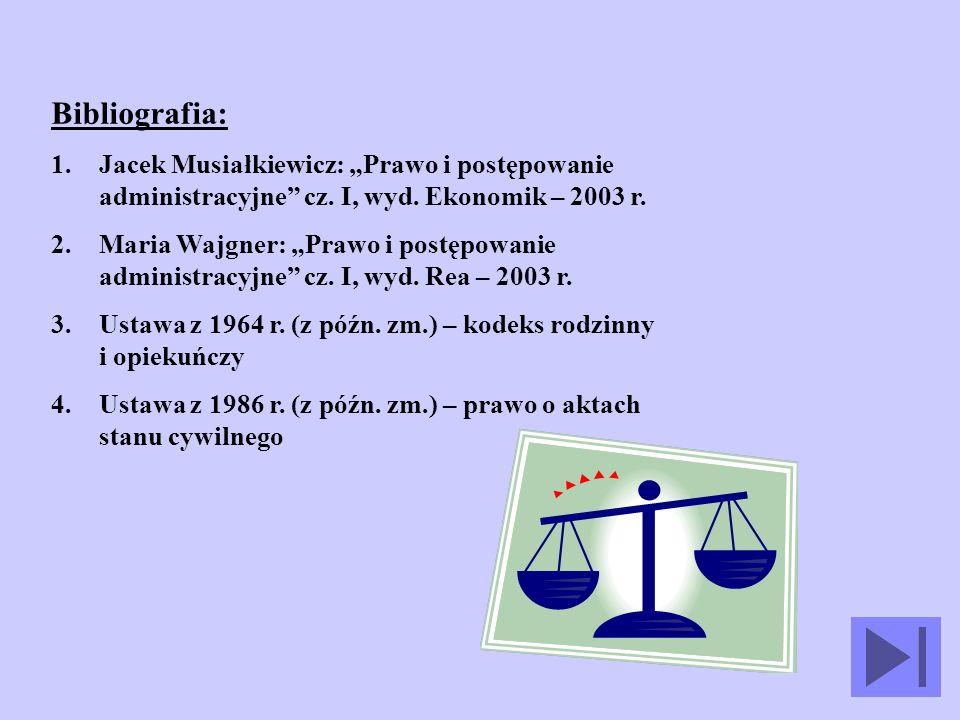 """Bibliografia: Jacek Musiałkiewicz: """"Prawo i postępowanie administracyjne cz. I, wyd. Ekonomik – 2003 r."""