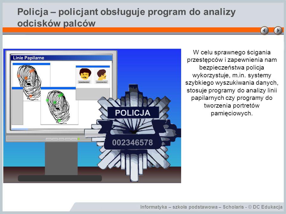 Policja – policjant obsługuje program do analizy odcisków palców