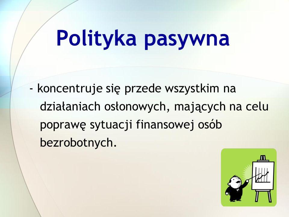 Polityka pasywna - koncentruje się przede wszystkim na działaniach osłonowych, mających na celu poprawę sytuacji finansowej osób bezrobotnych.