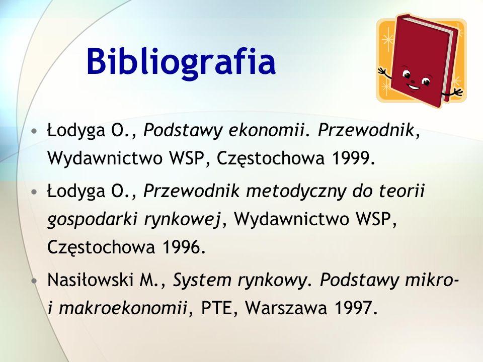 Bibliografia Łodyga O., Podstawy ekonomii. Przewodnik, Wydawnictwo WSP, Częstochowa 1999.