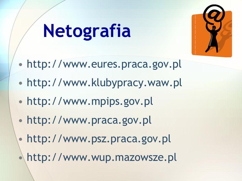 Netografia http://www.eures.praca.gov.pl http://www.klubypracy.waw.pl