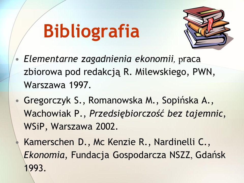 Bibliografia Elementarne zagadnienia ekonomii, praca zbiorowa pod redakcją R. Milewskiego, PWN, Warszawa 1997.