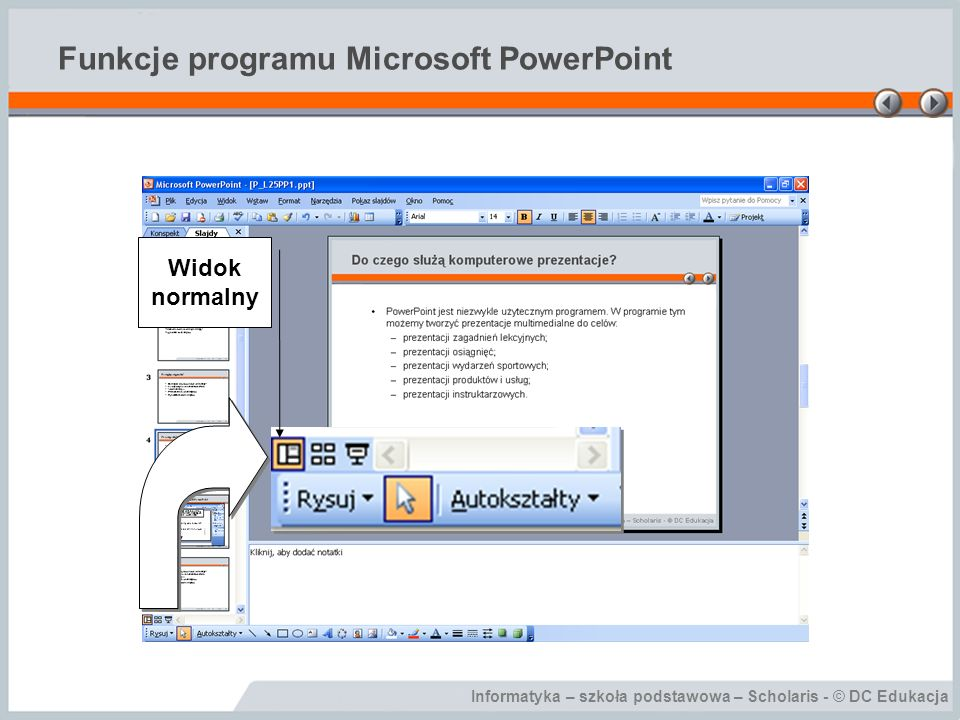 Funkcje programu Microsoft PowerPoint