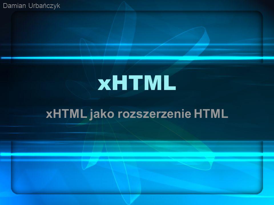 xHTML jako rozszerzenie HTML