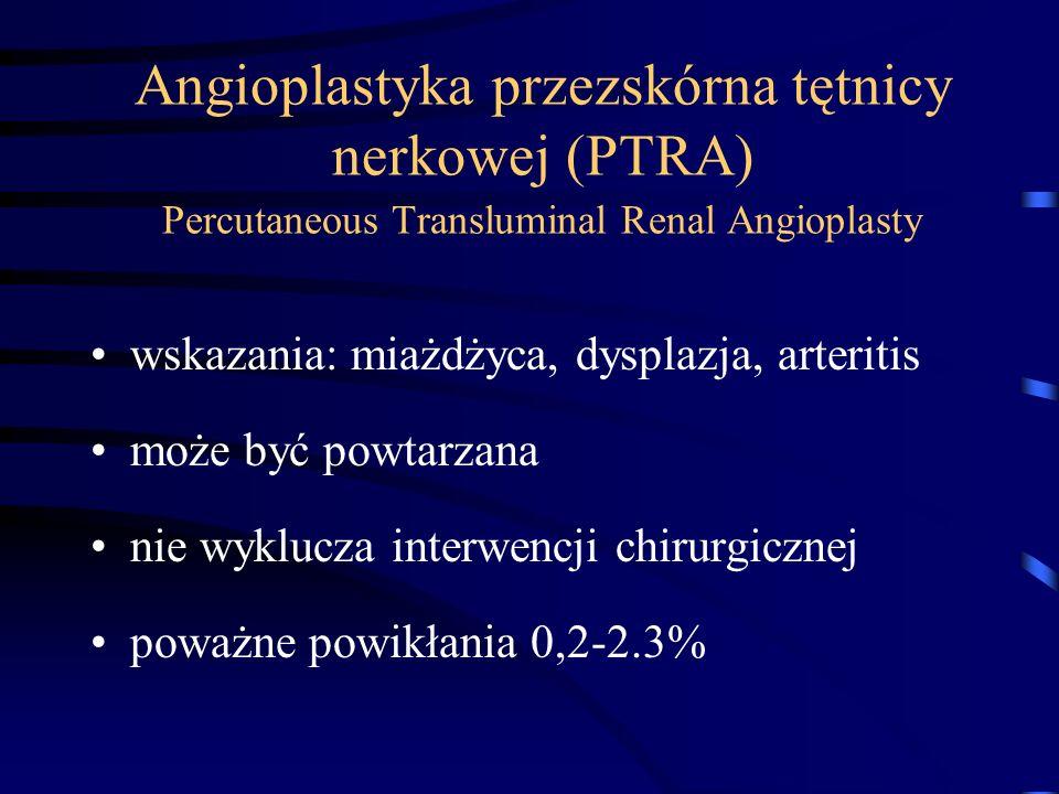 Angioplastyka przezskórna tętnicy nerkowej (PTRA) Percutaneous Transluminal Renal Angioplasty