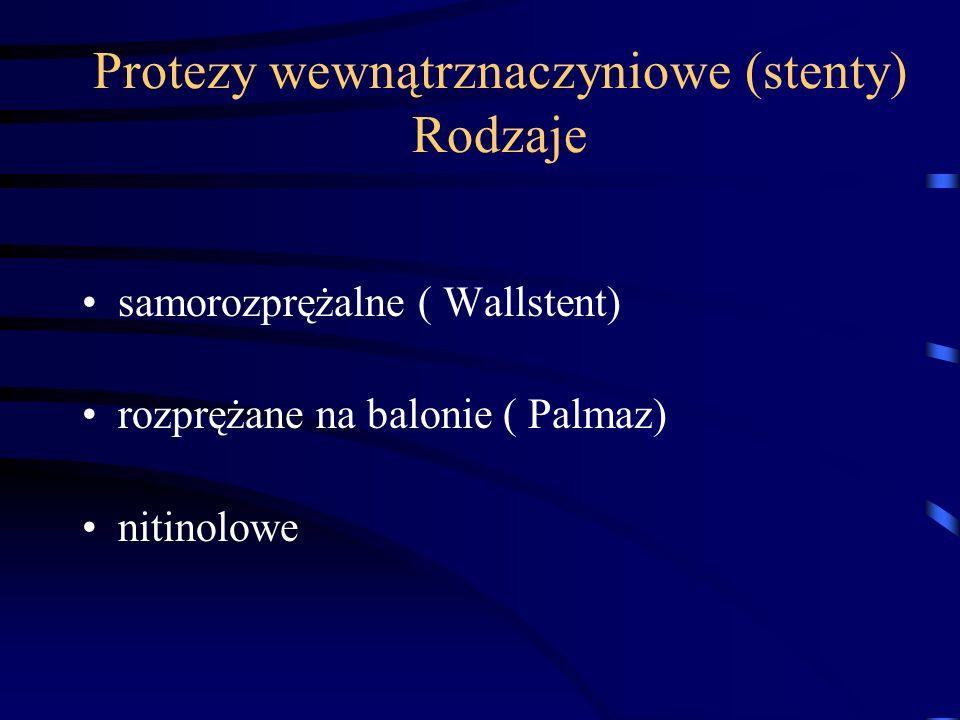 Protezy wewnątrznaczyniowe (stenty) Rodzaje