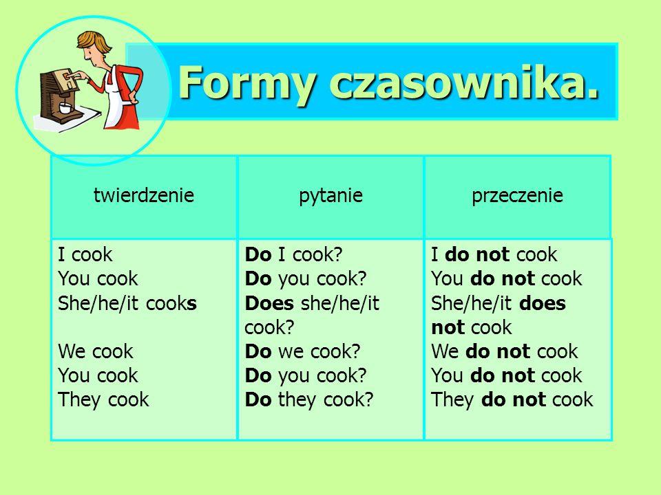 Formy czasownika. twierdzenie I cook You cook She/he/it cooks We cook