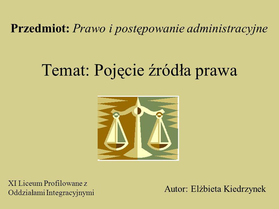 Temat: Pojęcie źródła prawa