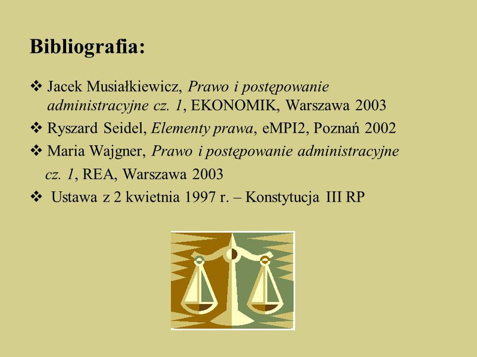 Bibliografia: Jacek Musiałkiewicz, Prawo i postępowanie administracyjne cz. 1, EKONOMIK, Warszawa 2003.