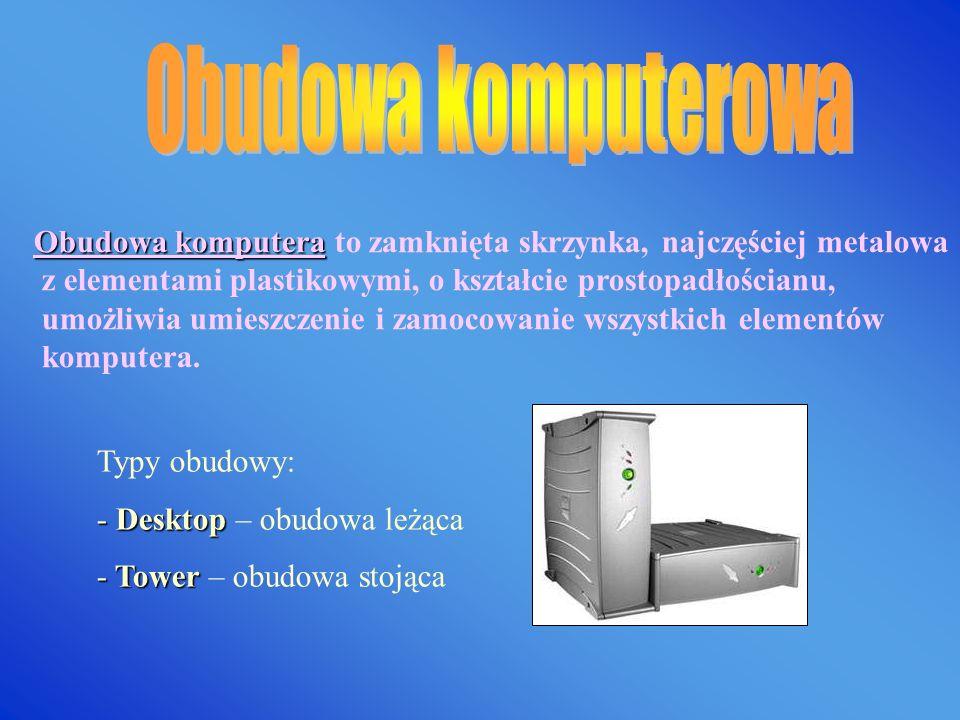 Obudowa komputerowa Obudowa komputera to zamknięta skrzynka, najczęściej metalowa. z elementami plastikowymi, o kształcie prostopadłościanu,