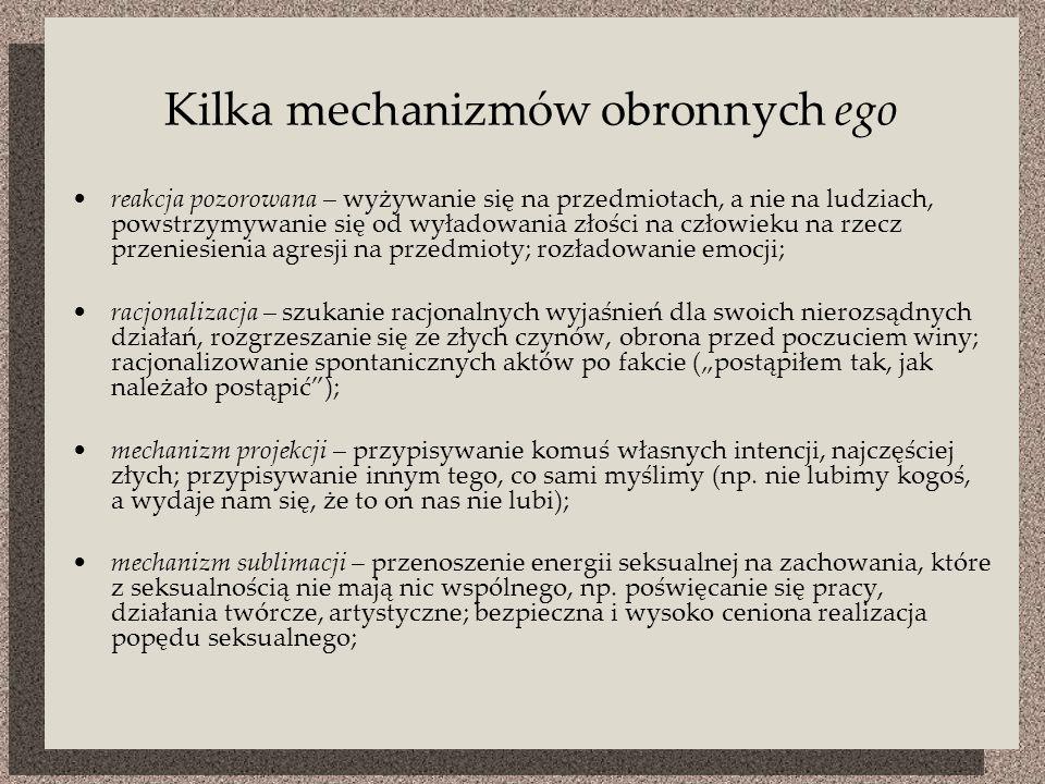 Kilka mechanizmów obronnych ego