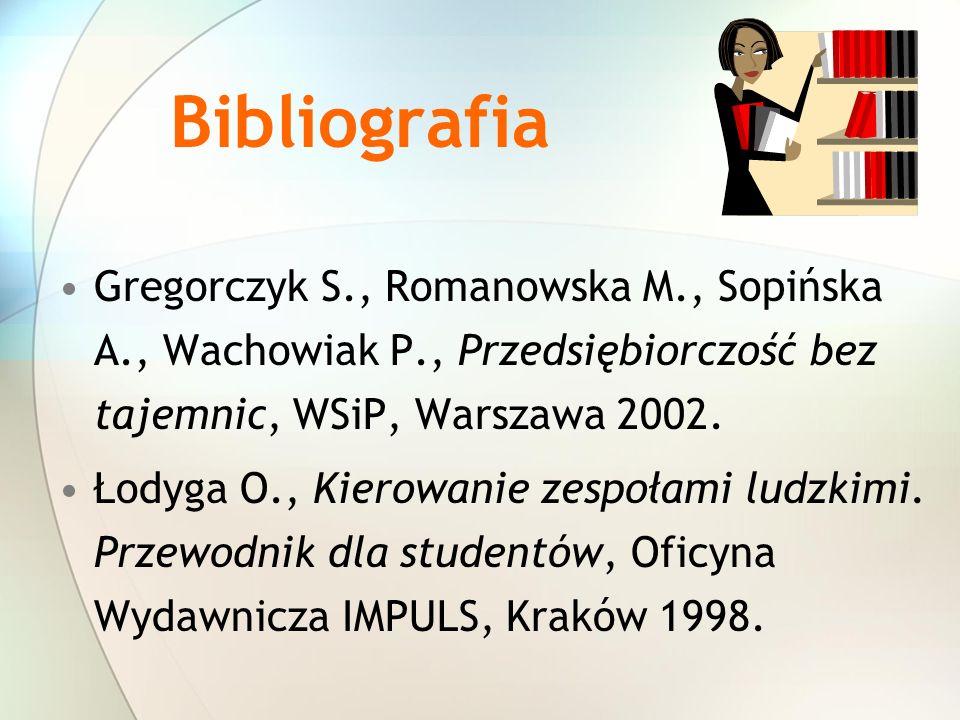 Bibliografia Gregorczyk S., Romanowska M., Sopińska A., Wachowiak P., Przedsiębiorczość bez tajemnic, WSiP, Warszawa 2002.