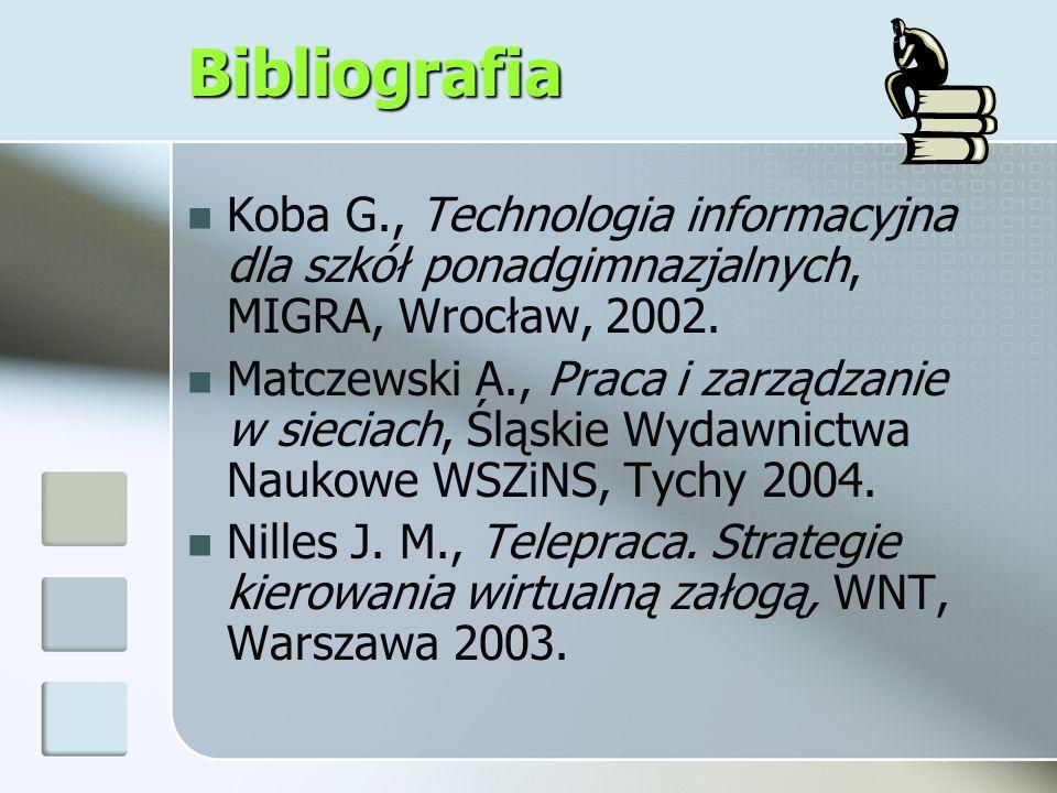 Bibliografia Koba G., Technologia informacyjna dla szkół ponadgimnazjalnych, MIGRA, Wrocław, 2002.