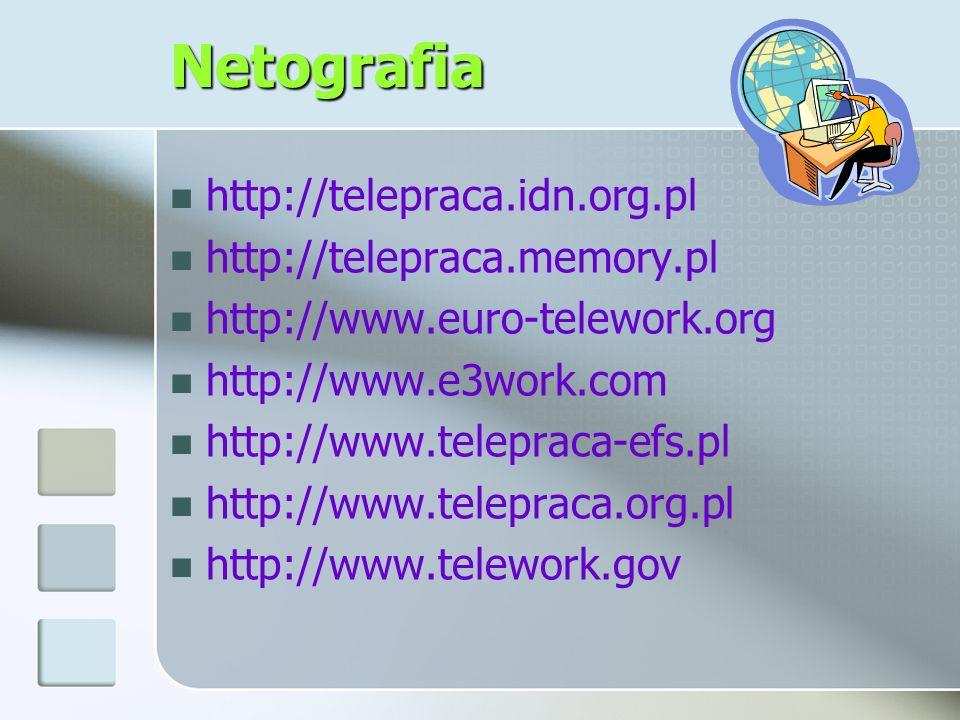 Netografia http://telepraca.idn.org.pl http://telepraca.memory.pl