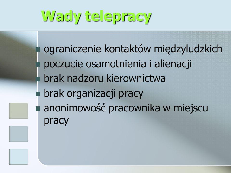 Wady telepracy ograniczenie kontaktów międzyludzkich