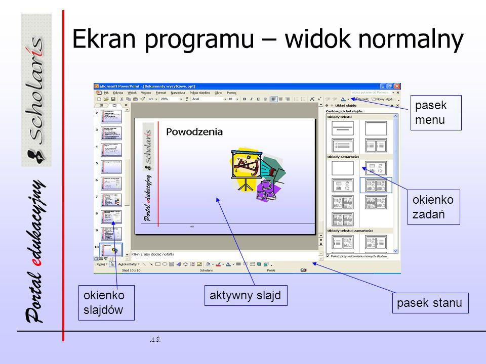 Ekran programu – widok normalny