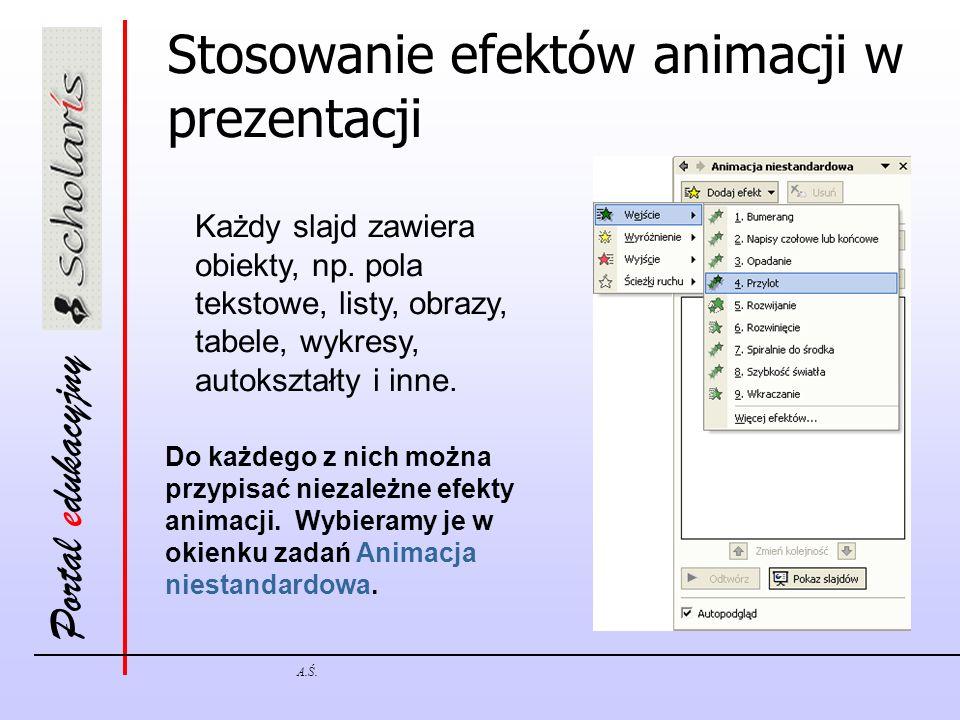 Stosowanie efektów animacji w prezentacji