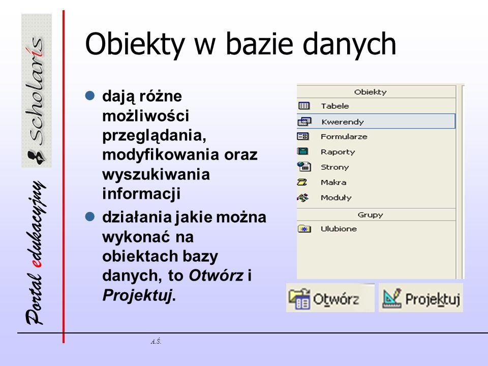 Obiekty w bazie danych dają różne możliwości przeglądania, modyfikowania oraz wyszukiwania informacji.