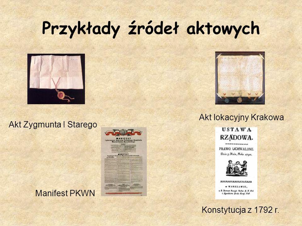 Przykłady źródeł aktowych