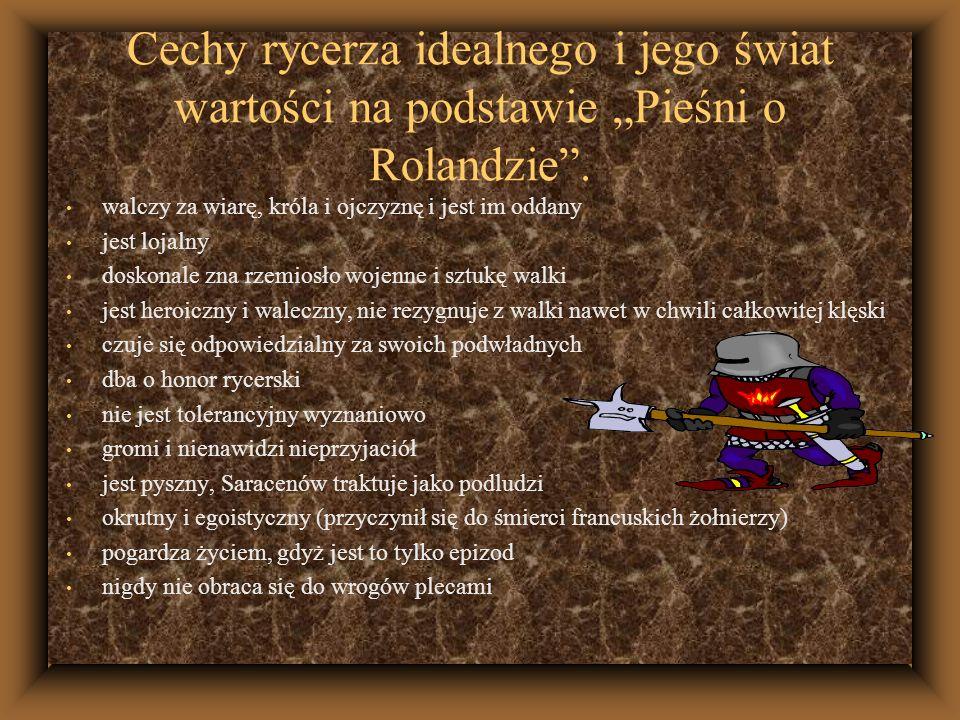 """Cechy rycerza idealnego i jego świat wartości na podstawie """"Pieśni o Rolandzie ."""