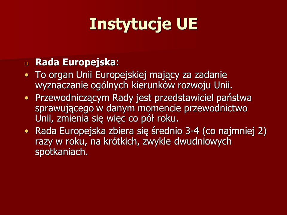 Instytucje UE Rada Europejska: