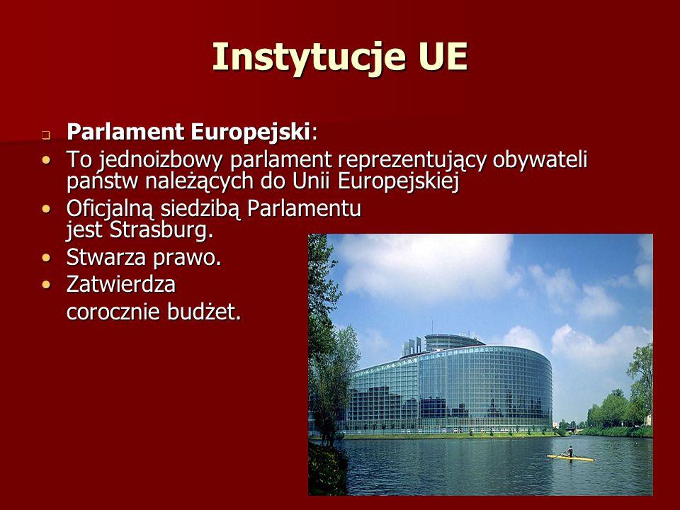 Instytucje UE Parlament Europejski: