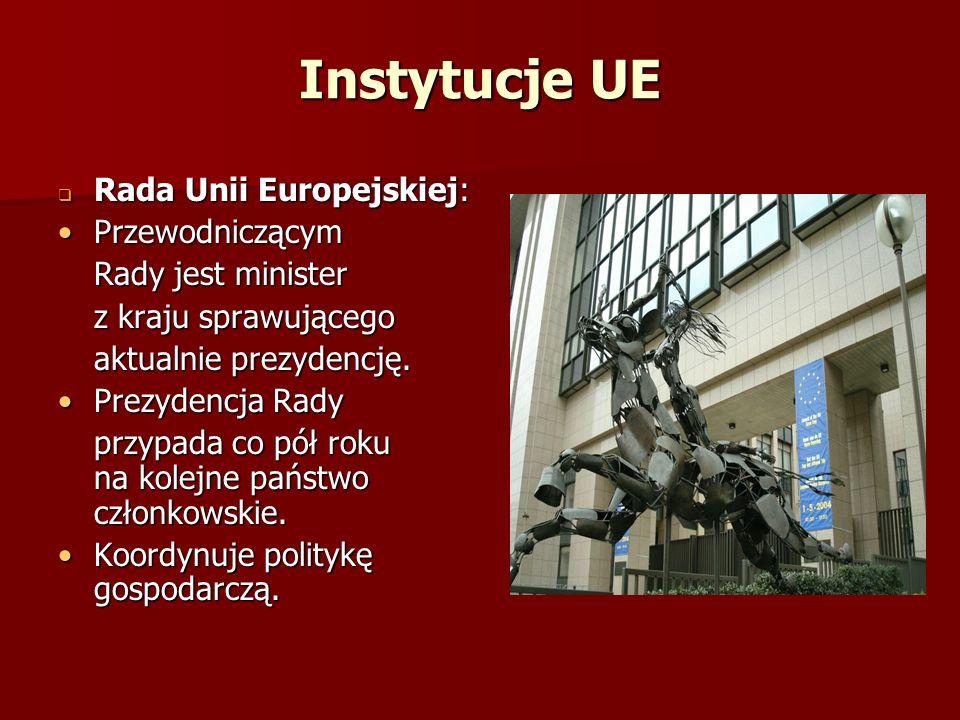 Instytucje UE Rada Unii Europejskiej: Przewodniczącym