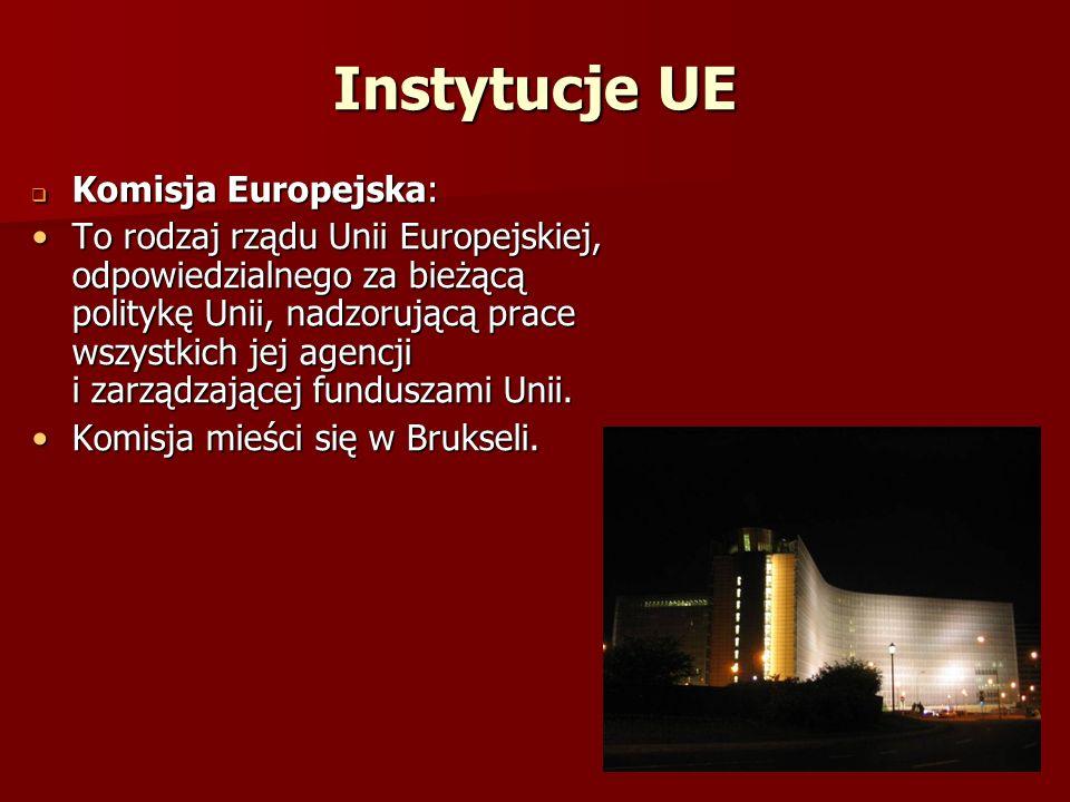 Instytucje UE Komisja Europejska: