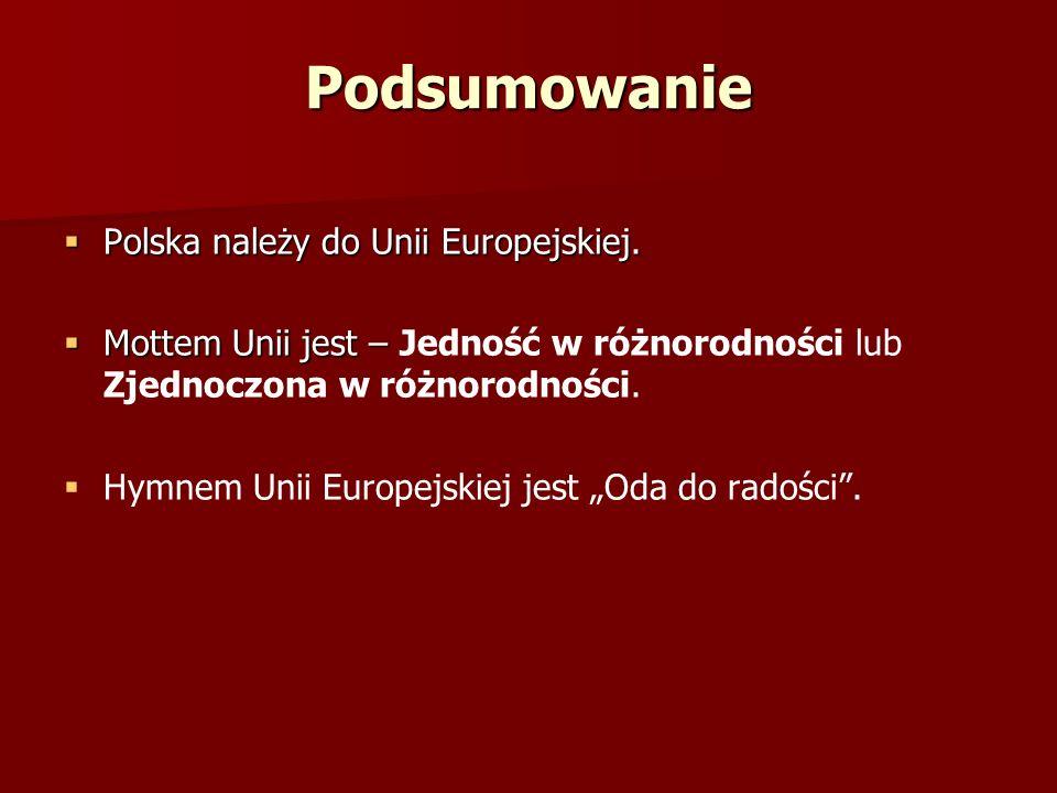 Podsumowanie Polska należy do Unii Europejskiej.