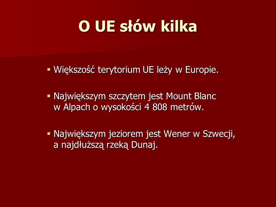 O UE słów kilka Większość terytorium UE leży w Europie.