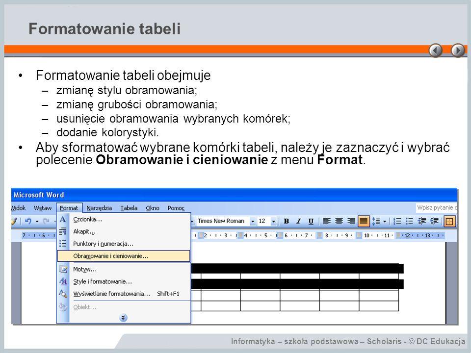 Formatowanie tabeli Formatowanie tabeli obejmuje