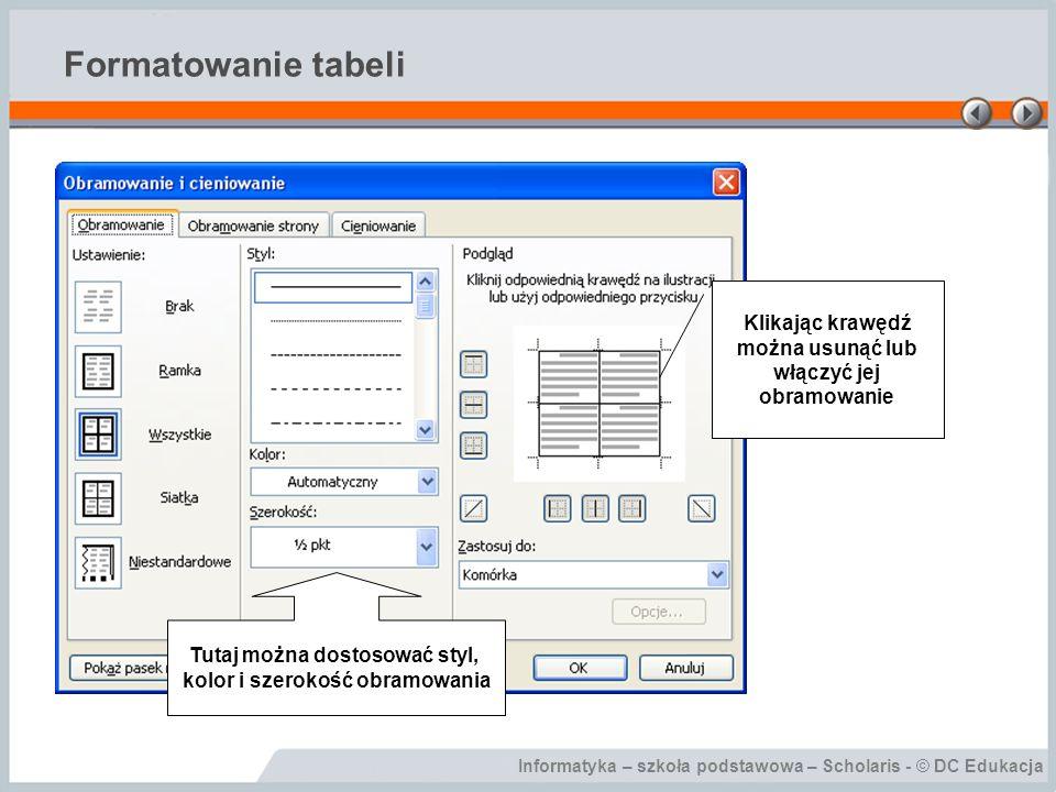 Formatowanie tabeli Klikając krawędź można usunąć lub włączyć jej obramowanie. Tutaj można dostosować styl,