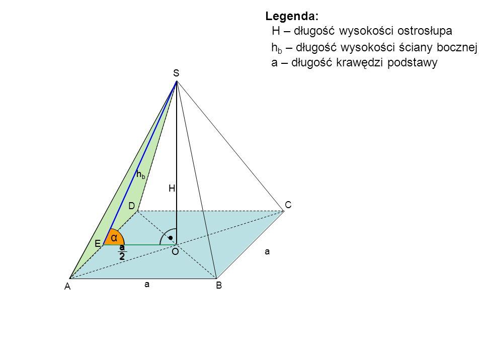 H – długość wysokości ostrosłupa