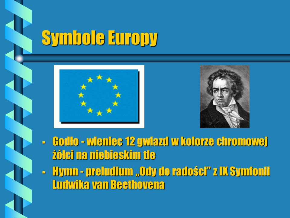Symbole Europy Godło - wieniec 12 gwiazd w kolorze chromowej żółci na niebieskim tle.