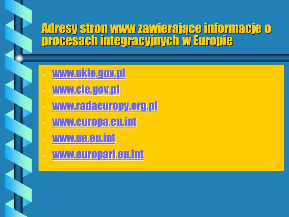 Adresy stron www zawierające informacje o procesach integracyjnych w Europie
