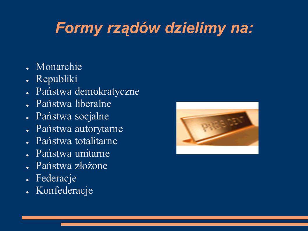 Formy rządów dzielimy na: